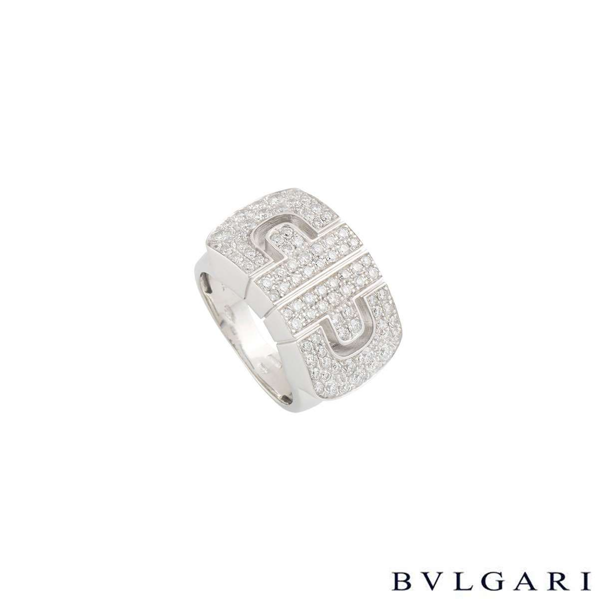 Bvlgari White Gold Diamond Parentesi Ring Size 47